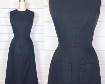 Vintage 1960s Donald Brooks Mod Linen Sheath Dress / Saks Fifth Avenue / Geometric Seams