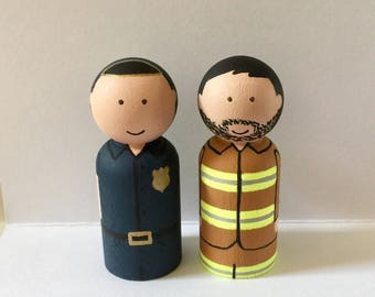 Policeman & Fireman peg doll set - Community helpers - wooden dolls - peg people - pegs - pegdolls - dolls - wooden toys - handpainted