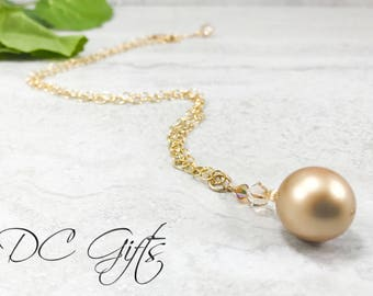 Gold Necklace, Handmade Jewelry, Gold Jewelry, Handmade Necklace, 14k Gold-fill Necklace, Handmade Pearl Necklace, Pearls, Christmas Gift