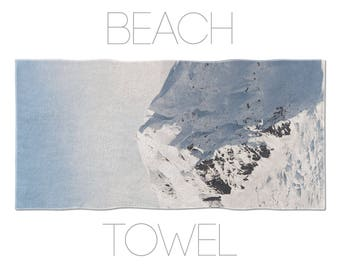 White Mountain Beach Towel, Photo Towels, Bathroom Decor, Bath Accessories, Photo Printed Towel, Pool Towels