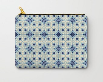 Blue Pouch, Geometric Pouch, Tile Pattern, Graphic Bag, Back To School Gift, Makeup Pouches, Pencil Pouch Set, Fabric Pouches, Cosmetic Bags