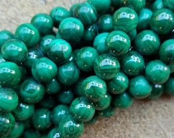 """Natural Gemstone Malachite 6mm Round Beads - 15.5"""" Strand"""