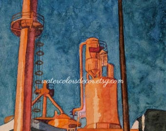 Peach Factory Industrial Building Watercolor Print. Industrial Painting.  Watercolor Art. Industrial Wall Art