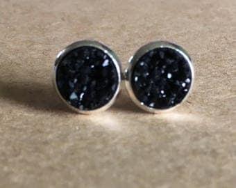 8mm Black Druzy Earrings, Black Druzy Stud Earrings, Faux Druzy Earrings