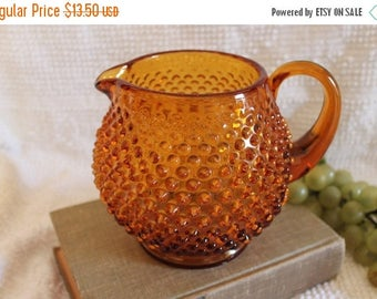 "Summer Sun Sale Fenton Glass Amber 5.25"" Juice Pitcher - Hobnail Pattern"