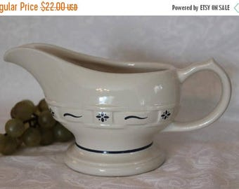SALE Longaberger Pottery Woven Traditions Gravy Boat - Cream Color with Classic Blue in Excellent Condition, Made in U.S.A.
