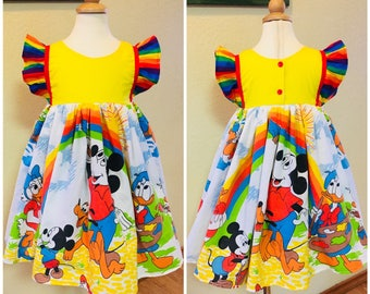 Vintage Upcycle Disney Mickey Mouse Daisy Donald duck Rainbow Flutter Sleeves Girls Baby Toddler Custom Boutique Dress