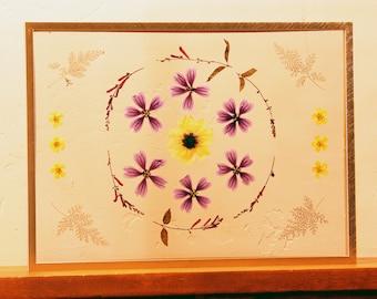 Real Pressed Flower, Botanical, and Fern Wall Hanging, 11x15 Gold Float Frame, Pressed Flower Art, Pressed Plants Glass Frame