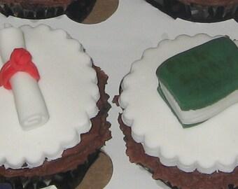12 edible graduation cupcake toppers.