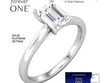 PLATINUM 1.50 Carat (8x6mm) Emerald Cut Moissanite Forever One Solitaire Engagement Ring (with Charles & Colvard authenticity card)