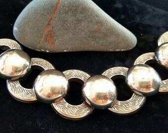 Large Chunky Vintage Bracelet, Round Silver Tone Vintage Bracelet, Mid Century 1960's Vintage Bracelet, Antique Bracelet Silver Tone Chunky