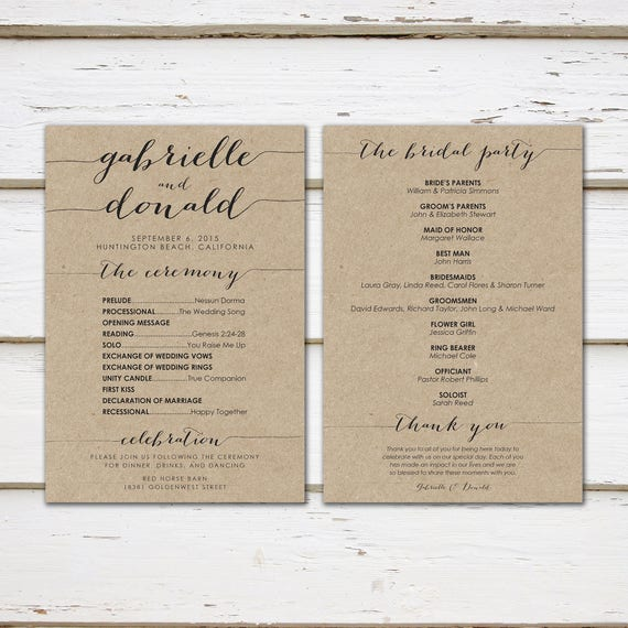 Printable Kraft Wedding Program, Simple Wedding Program