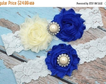 ON SALE Wedding Garter,Royal Blue and Ivory Garter Set, Blue Wedding Garter, Lace Garter, Keepsake Garter, Toss Garter, Blue Garter