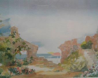 Beach Theme watercolor/Ocean/Umbrellas/ Ruins/Staircase/Signed Llado'