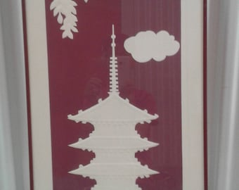 "Asian Paper Art Titled ""Pagoda""/Pagoda/Cloud/ Tree Leaves/Signed/Numbered"