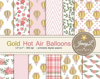 50% OFF Gold Hot Air Balloon Digital Papers for Digital Scrapbooking, Invitations, Planners,