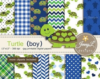 50% OFF Turtle Boy Digital Papers and Cliparts, Blue Green Turtle for Digital Scrapbooking, Birthday Party, Invitations, Planners