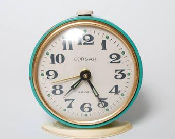 Vintage alarm clock Corsar, metal case, made in Hungary,