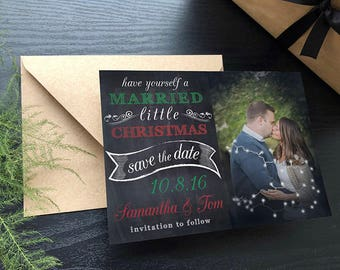 Married Little Christmas Save the Date • Save the Date Christmas Card • Christmas Wedding Save the Dates • Christmas Save the Date Cards