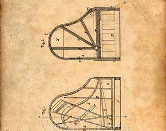 Grand Piano Patent Print Grand Piano Art Print Steinway Piano