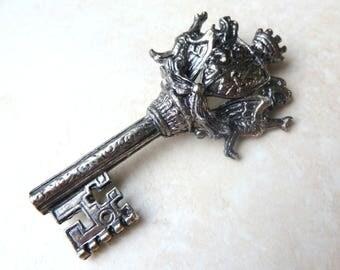 Vintage Key Brooch, Large Heraldic Brooch, Medieval Key Brooch, Miracle Brooch.