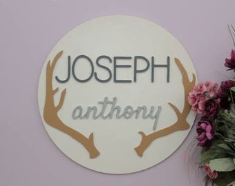 Antler Nursery Decor, Wooden Names, Round Wood Sign, Woodland Nursery Decor, Wood Wall Letters, Baby Boy Nursery Decor, Rustic Wall Decor