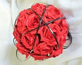 Custom listing for Maja. Red rose gothic bridal bouquet