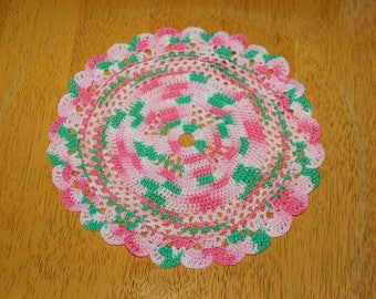 "Hand Crafted DOILY - 8"" Shades of Pink and Green Hand Crocheted Doily"