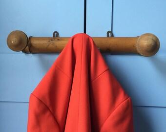 French Wooden Coat Rack. 1930s Faux Bamboo Style. Three Coat Hooks. Home Decor Storage. Wall Rack. Hallway Decor. Three Pegs. Hallway