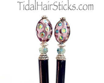 Hair Stick/Pick/Pin. Free shipping. Purple and blue iridescent beads