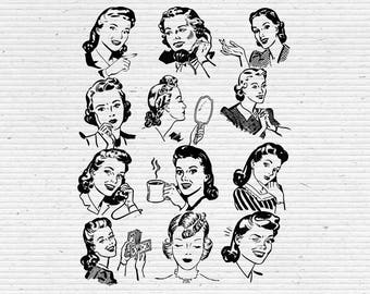 Retro Women, Ideal for Scrapbooking and Cardmaking, Available in jpg, png and eps