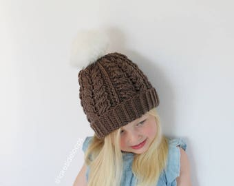 Crochet Pattern - Finley Cable Crochet Hat by Lakeside Loops (includes sizes for baby, kids, teen, & adult)