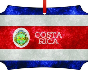 Costa Rican Grunge Flag-TM Double-Sided Berlin Aluminum Holiday Hanging Tree Ornament. Made in the USA