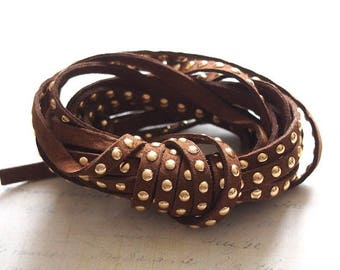 Chocolate brown suede Ribbon studded with golden coins