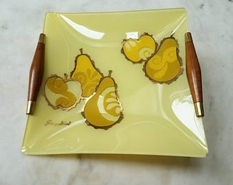 Georges Briard Glass Tray, Pears, Apples, Yellow, Green, Gold