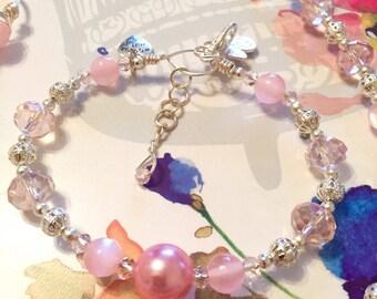 Isabella Collection Stunning Keepsake Rose Quartz & Crystal Silver and Pink Bracelet