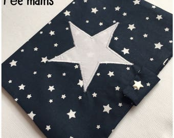 Navy blue cotton health booklet protection cover white stars