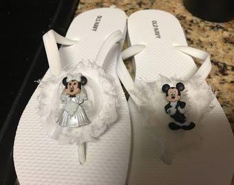 Wedding disney inspired flip flops
