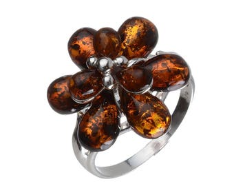 "Sterling Silver and Baltic Amber Ring ""Alexa"""