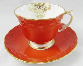 Aynsley Orange Tea Cup and Saucer, Square Shape, Vintage Teacup and Saucer, Bone China