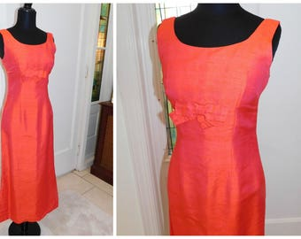 Vintage Watermelon Pink Orange 60s Wiggle Gown| Couture Jackie O Formal Gown| Small