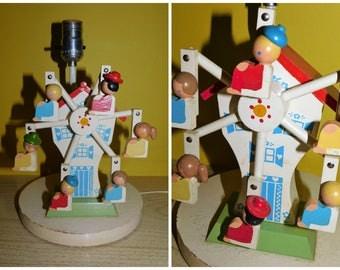 Vintage 70s Nursery Musical Ferris Wheel Lamp Irmi Nursery Originals Ferris Wheel Moving Lamp