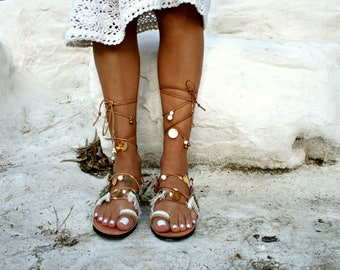 Gold  Tie Up Leather Sandal - Paros-Bohemian-Charms