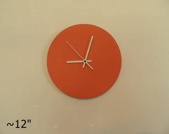 Minimal art clock orange, white or any colour extra quiet clockwork  black clock hand girls room  kids room  white clock hand modern clock