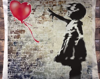 Exclusive Sublimation Banksy Girl With Balloon Street Graffiti Cushion Cover CUS08