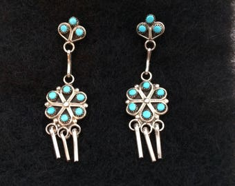 Native Amereican, Signed Zuni Turquoise pettipoint/snake eye drop earrings