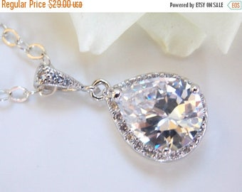 SALE Wedding Jewelry, Sterling Silver, Cubic Zirconia Necklace, Bridal Jewelry, Wedding Pendant, Bridesmaid Necklace, Gifts, Wedding Gifts,