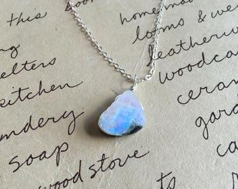 Rainbow Moonstone Necklace - Rainbow Moonstone - Silver Rainbow Moonstone -Moonstone Jewelry - Crystal Necklace