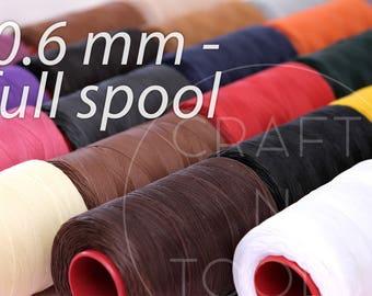 RITZA25 Waxed Thread 0.6mm FULL SPOOL 1000m in 20 Colours/Wax Polyester Thread/Saddler Thread/Waxed Sewing Thread/Tiger Thread/Saddle Sewing
