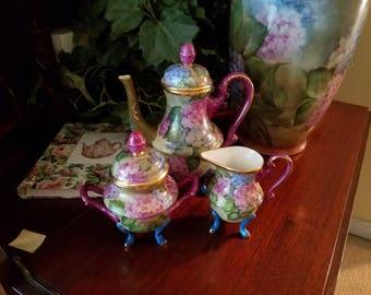 Tea set , Hand painted with beautiful  Hydrangeas